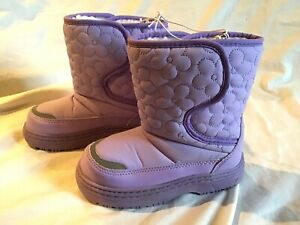 CIRCO-SOX-TAB-Youth-Girls-Thermolite-Boots-Purple-amp-White-Faux-Fur-L-9-10-NWOT