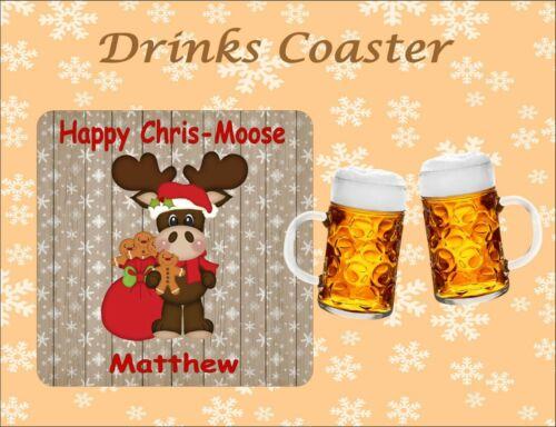 PERSONALISED CHRIS-MOOSE CHRISTMAS DRINKS COASTER XMAS PRESENT SECRET SANTA