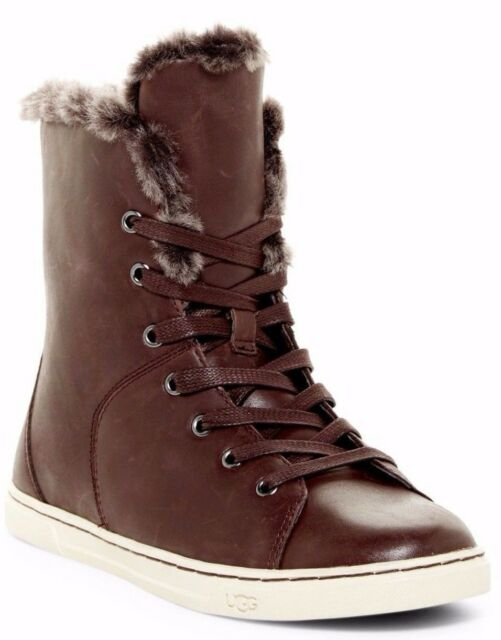 59d26394bb5 UGG Australia Sz 6 Croft Luxe Brown Shearling Leather High Top Sneaker BOOTS