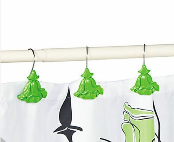 Set Of 12 Green Shower Curtain Hooks