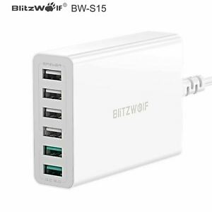BlitzWolf BW-S15 60W 6 Port USB Fast Quick Charge QC3.0 Wall Charger...
