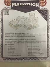 NEW Marathon Housewares KW030008 Deluxe Quilted Damask China Storage Case Ivory