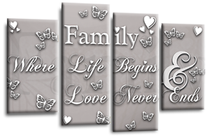 Family Quote Powder Grey Silver Black White Canvas Picture Wall Art