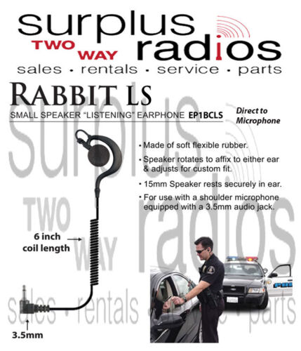 Rabbit 3.5mm Listen Only Earpiece For Motorola shoulder Mic XTS2500 APX EP1BCLS