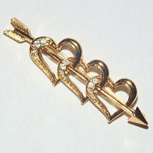 Vintage-signed-Avon-triple-hearts-pierced-cupid-arrow-rhinestone-bar-pin-brooch