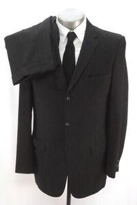 Herren charcoal herringbone Vintage 50s 2pc Hose Anzug hoch tailliert Wolle 44 L