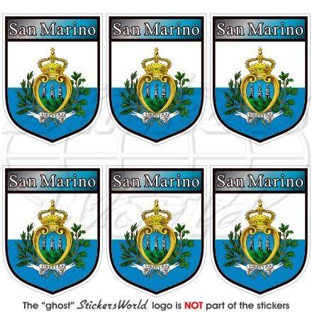 """x6 SAN MARINO Schild Sammarinese Handy Vinyl Mini-Sticker 1.6/"""" Aufkleber 40mm"""