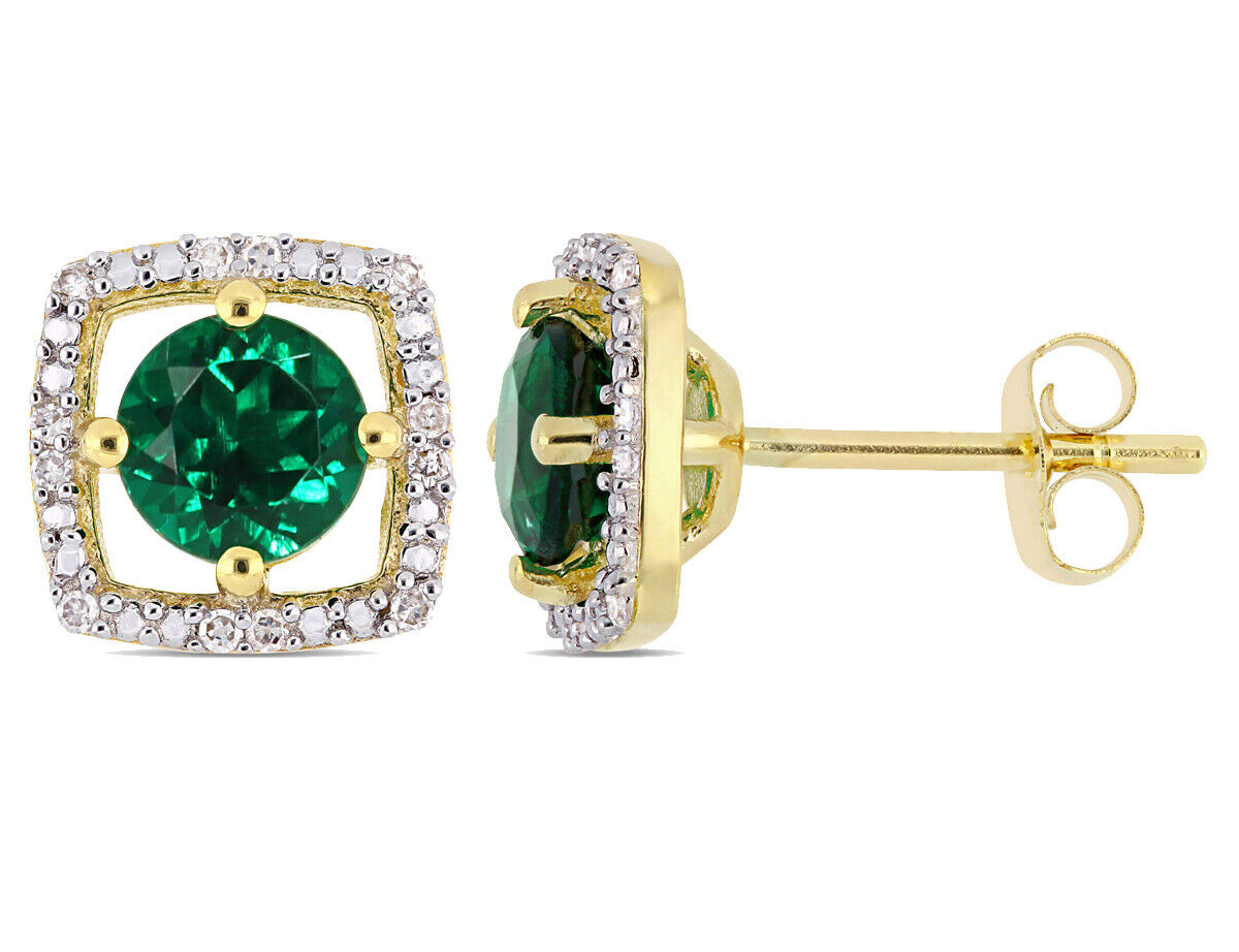 1.00 Carat (ctw) Created Emerald Halo Earrings in 10K Yellow gold
