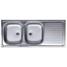 Lavello con appoggio 2 vasche sinistra in acciaio inox scolapiatti cucina N127DX