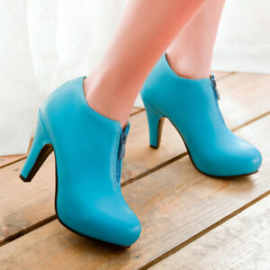 Women-Ankle-Boots-Platform-Round-Toe-Big-Size-Stiletto-High-Heel-Booties-Shoes