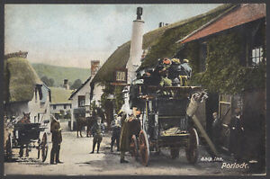 Porlock-Somerset-Stage-Coach-at-the-Ship-Inn-Unused-Vintage-Hartmann-Postcard