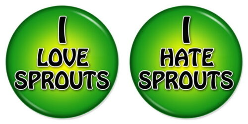 "2 x I LOVE HATE SPROUTS Combo 25mm 1/"" Pin Button Badges Combo Set Xmas Party"