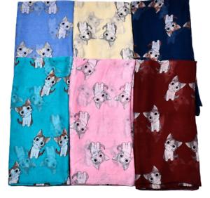 Tuch Schal mit Katzen Katzentuch Halstuch Hund Motiv leichte Stola