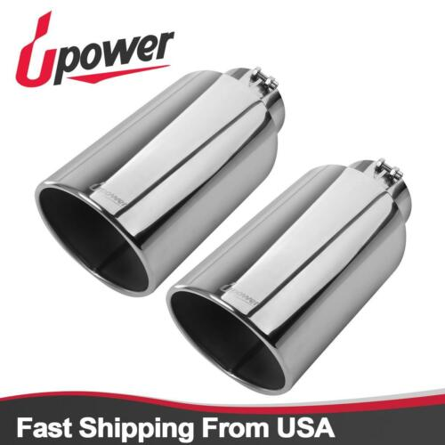 """Pack of 2 Polished Exhaust Tip Bolt On Round Tailpipe 5/""""Inlet 8/""""Outlet 18/""""Long"""
