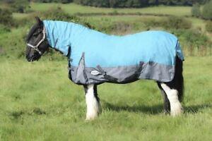 Outdoor Turnout Aqua//Grey 5/'3-6/'9 600D 50G Equine Winter Waterproof Horse Rugs