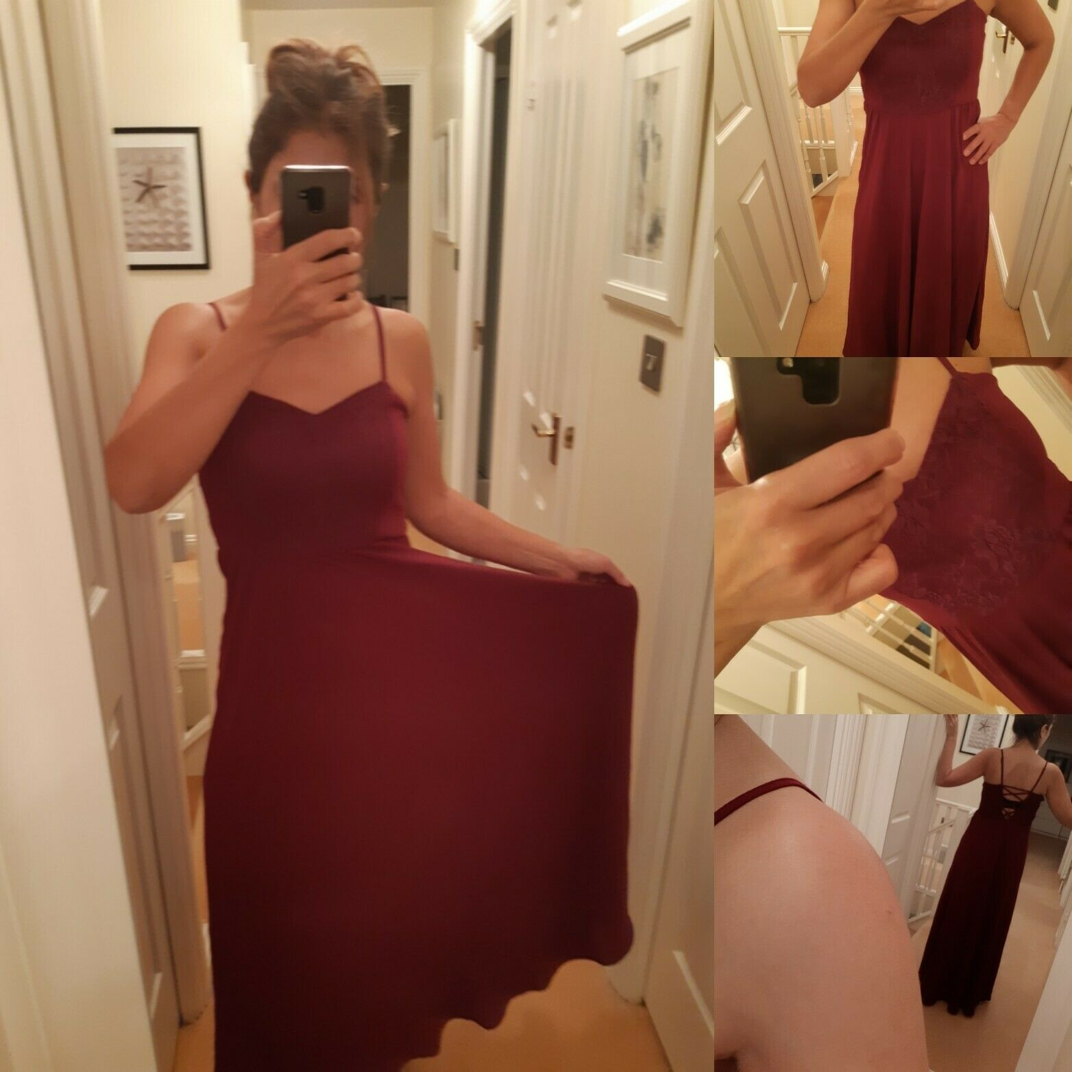 Beautiful Burgundy Party wedding  Maxi Subdued Dress, Size M