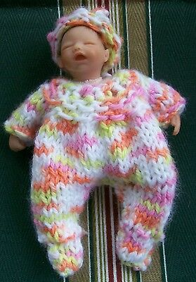 "Doll clothes Footie Hand-knit Set Fits Baby 4"" - 5"" Heavenly by Euro Style Knits"