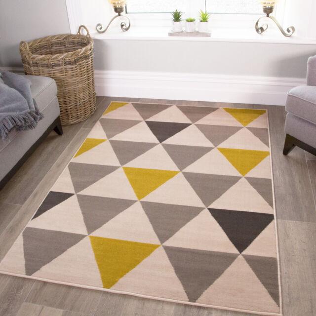 Ochre Yellow & Gray Rug | Geometric