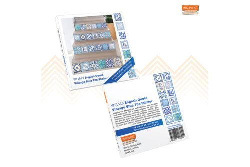 15 cm Walplus Tuile Autocollant Anglais Citer BLEU VINTAGE Wall Sticker Decal Taille