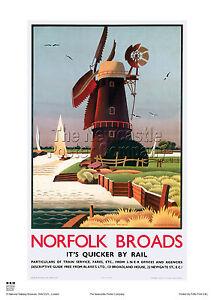 NORFOLK BROADS WINDMILL RETRO VINTAGE RAILWAY TRAVEL POSTER ADVERTISING ART