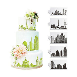 5PCS-Buildings-Cake-Stencils-Cookies-Mousse-Mold-Coffee-Template-Bakingcraft-Pg
