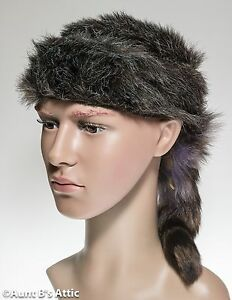 Image is loading Coonskin-Cap-Davy-Crockett-Brown-Faux-Fur-Frontiersman- 9cc8bb98d735