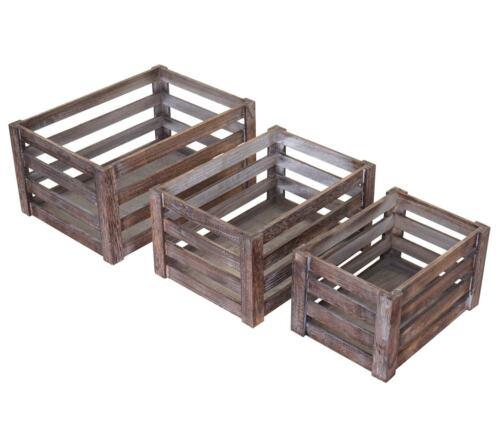 3er Set Holzkiste HWC-C56 Weinkiste Dekokiste Aufbewahrungskiste Obstkiste