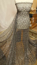 "1M GREY SPIDER WEB SEQUIN NET BRIDLE DRESS FABRIC 55""WIDE"