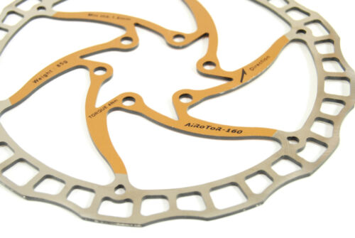 Ashima Airotor Mountain Bike Disc Brake Rotor MTB 160mm 160 mm Gold//Yellow 85g