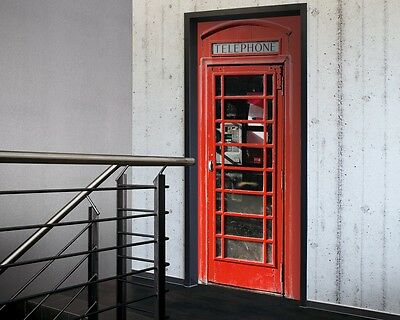 Telephone Door Sticker in Red-Door Decor, Door wallpaper