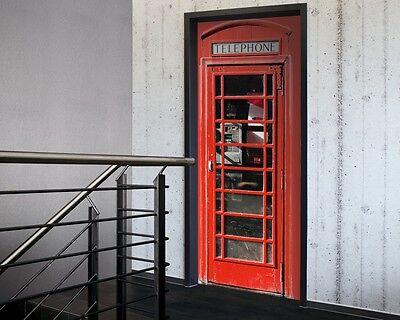 Telephone Door Sticker in Red-Door Decor, Door wallpaper