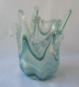 Genuine Art Glass Vase Bowl Blue Color Murano Tammaro Made in Italy No 526