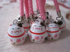 New Lot 10 pcs cartoon lovely Lucky cat Bell Cell Phone Charm Strap L-01