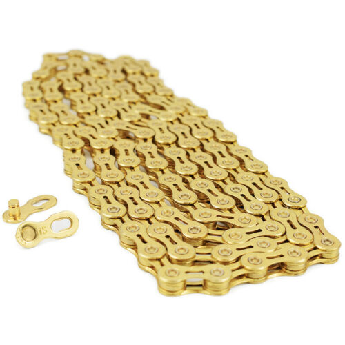 Gold 9//10-Speed Stretch-Proof Bike Bicycle Chain 116L for Campy SRAM Shimano US