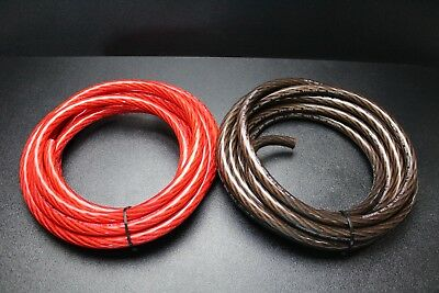 4 Gauge Wire 5 FT RED 5FT Black Shinny Stranded Power Ground Cable AMP AWG