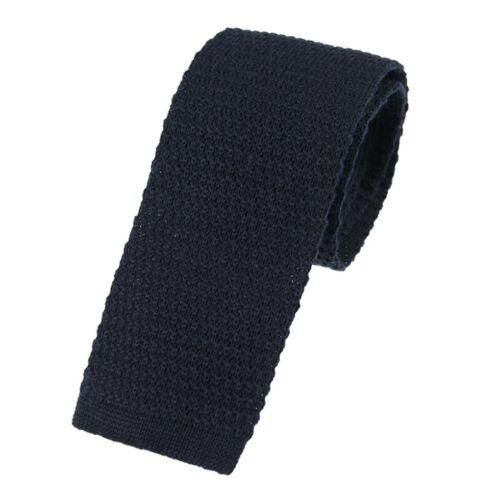 U102//27 Men/'s plain bleu marine laine tricoté cravate