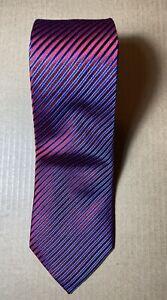 "Charles Tyrwhitt 100% Silk Striped Tie 61"" x 3.5"" Jermyn Street London Red Blue"