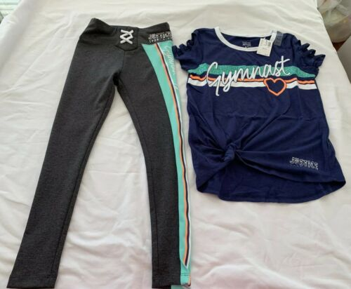 Justice Girls Gymnasts Ladder Tee Sports Stripe Lace Up Legging Size 8 Outfit