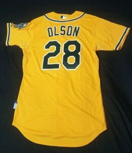 new arrival cc816 2f6b8 Details about Authentic Matt Olson Oakland Athletics Yellow size 44  Majestic Jersey New