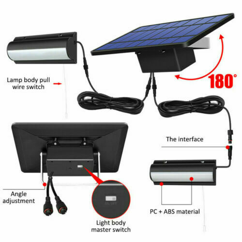 Dual Heads Solar Wall Light Outdoor Indoor Garden Lamp Lights Shop Shed Camping