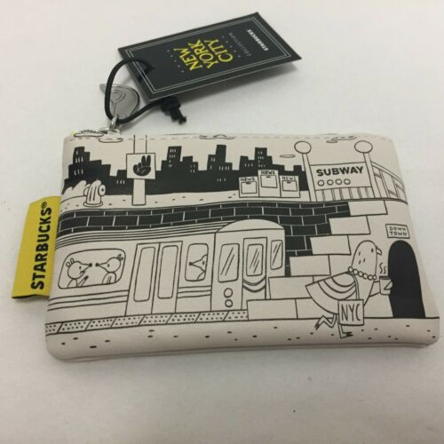 Starbucks New York City 2019 Gift Card Pouch Subway Wall Train Pigeon