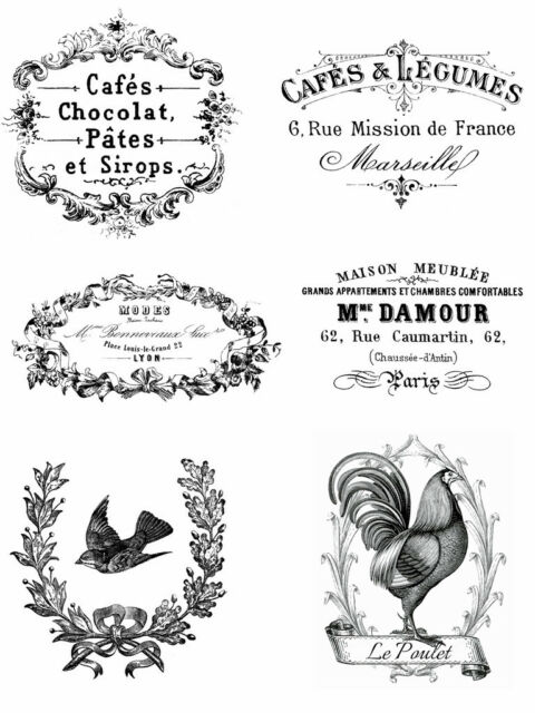 Vintage Advert French shabby chic 6 x transfers or sticker