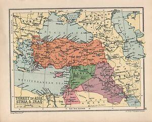 1934 MAP TURKEY IN ASIA SYRIA IRAQ eBay