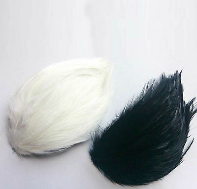 LOT OF 3 WHITE/BLACK - FEATHER PAD APPLIQUE MOTIF SEW ON HANDMADE CRAFT