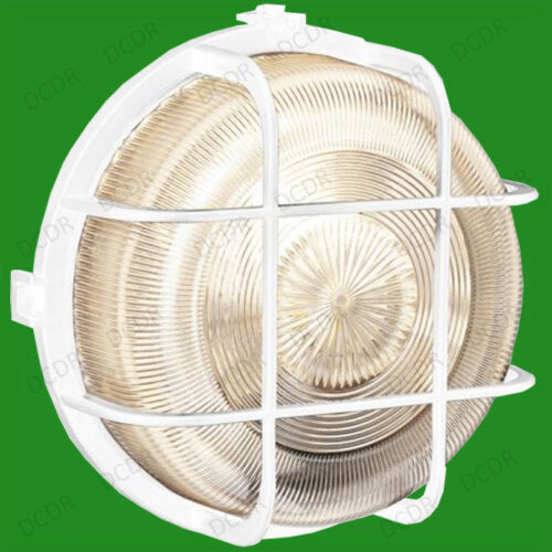 Outdoor Vintage Replica Industrial Round Caged IP44 Bulkhead Security Wall Light