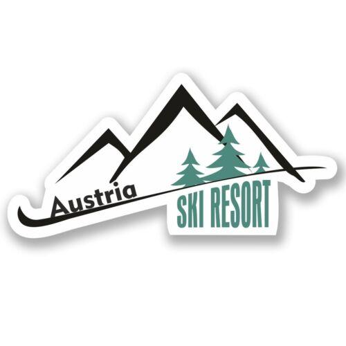 2 X Austria Ski Resort Pegatina de vinilo Laptop Equipaje de Viaje #4660