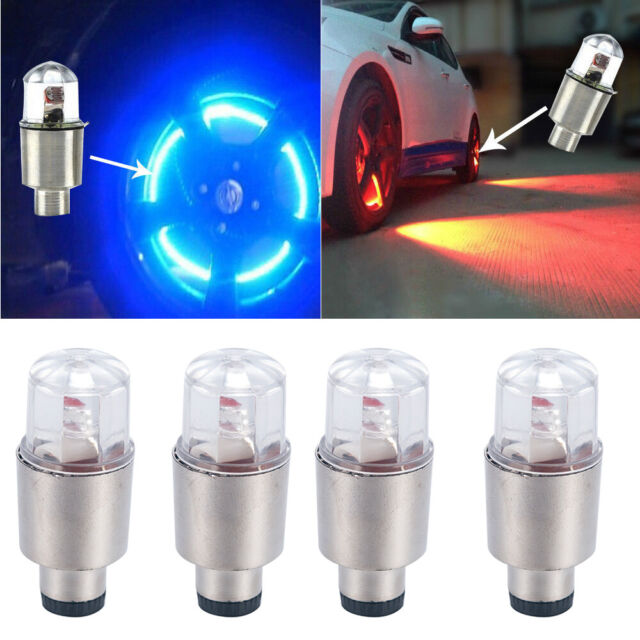 4 X Car Motorcycle Bike LED Flashing Neon Wheel Tire Tyre Valve Dust Cap Lights