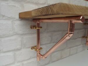 Attractive Image Is Loading Copper Pipe Shelf Brackets Braced Style Supports