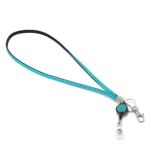 Retractable Reel Rhinestone ID Name Badge Holder Keys Pocket Belt Neck Lanyard