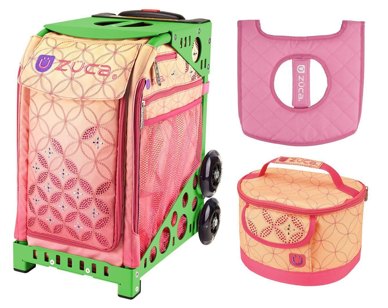 Zuca Sport Bag - SUNSET with GIFT Lunchbox and Seat Cover (Green Frame)